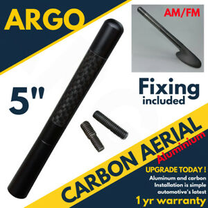 """5"""" Carbon Fibre Car Bee-sting Stubby Black Ariel Aerial Arial Mast Antenna Roof"""