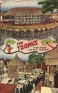 Vintage Postcard 1945 The Tropics West Madison Hotel Chicagoan Tiki Restaurant