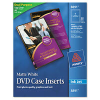 Avery Inkjet Dvd Case Inserts Matte White 20/pack 8891 on sale