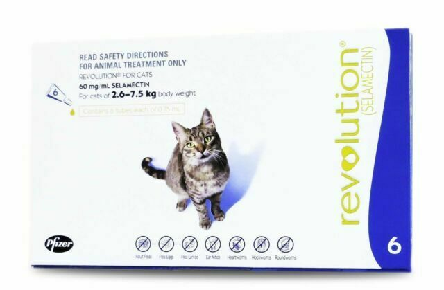 Reviews Revolution For Cats 2 6 To 7 5 Kg Blue 6 Doses Flea Heartworm Control Ebay