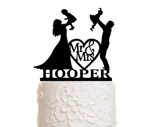 Personalisiert Tortenfigur Hochzeit Cake Topper Braut Bräutigam Kind Familie NEU