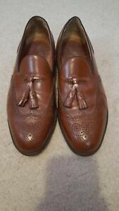 Mens-Walk-Over-Brown-Leather-Slip-on-Shoes-with-Tassels-Size-9-5-EEE