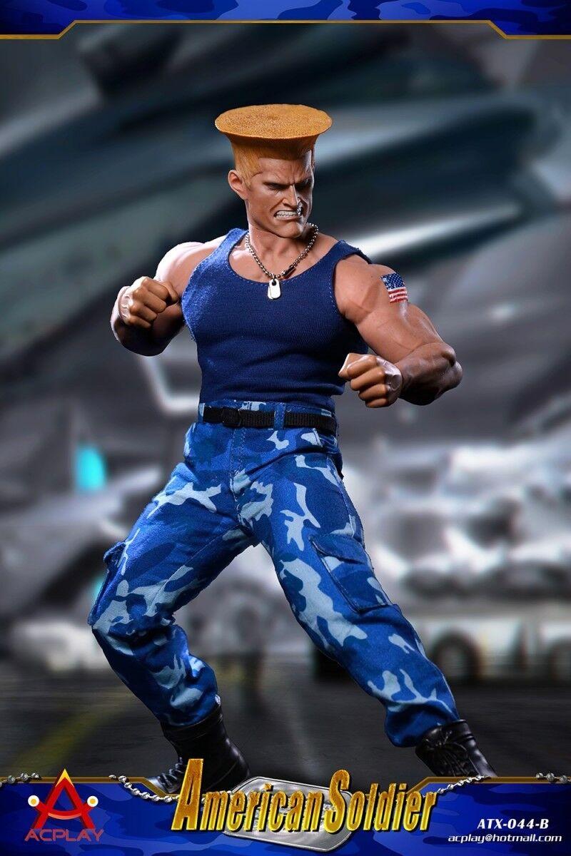 Acplay ATX044B Street Fighter soldat américain échelle 1 6 Vêtements Costume avec deux Head