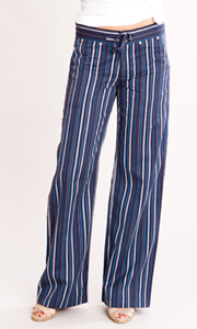 NWT Carve Designs VENICE PANT Navy bluee Striped Congreenible Capri Pant Womens 10