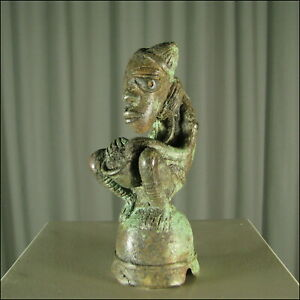 58062-Bronze-Trommler-Figur-Yoruba-Nigeria-Afrika-KUNST