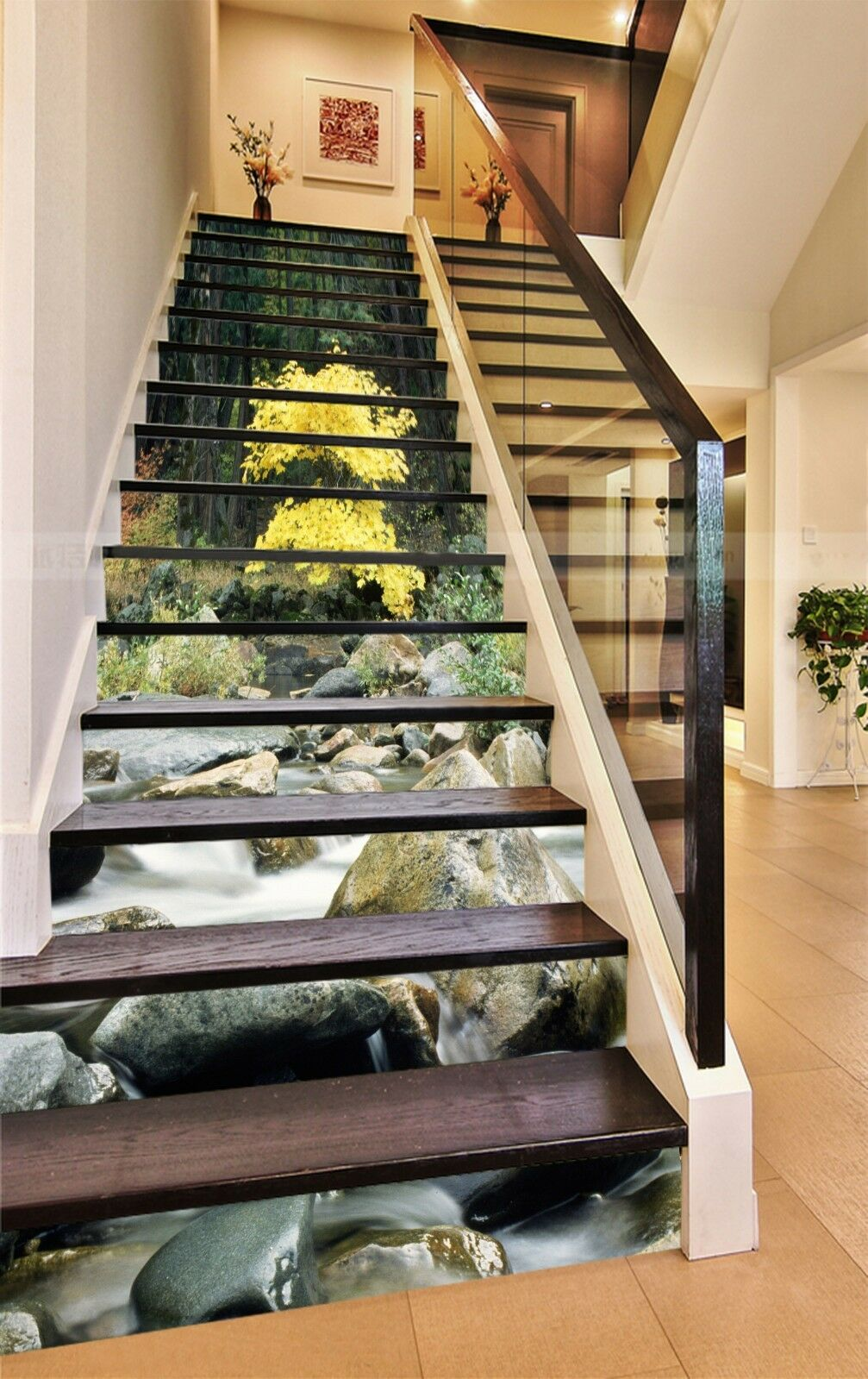 3D Tree stone 5 Stair Risers Decoration Photo Mural Vinyl Decal Wallpaper UK