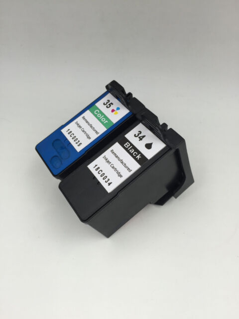 Reman 34 Black & 35 Color High Yield Ink Print Cartridge for Lexmark Printer