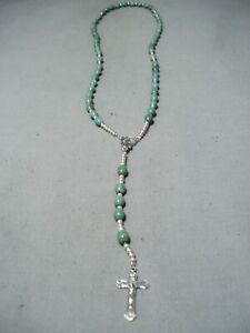 WONDERFUL-NAVAJO-ROYSTON-TURQUOISE-STERLING-SILVER-ROSARY-NECKLACE