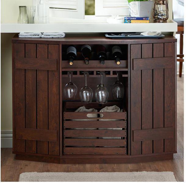 Furniture Buffet Table Wine Rack Server, Liquor Bar Furniture