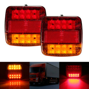 2x-12V-LED-Feux-Indicateur-Lampe-Arriere-Queue-Arret-Remorque-Caravane-Camion