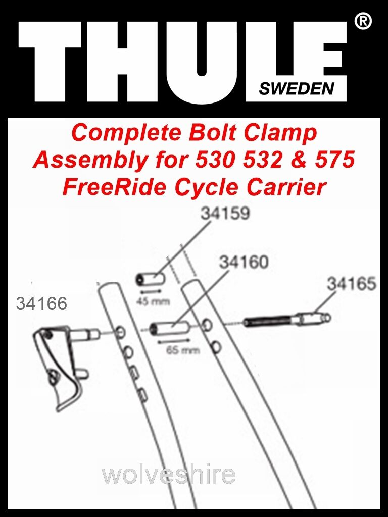 GENUINE REPLACEMENT THULE FRAME CLAMP ASSEMBLY FOR 530 FREERIDE CYCLE CARRIER