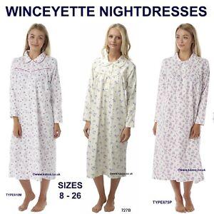 8f42e7ccd3806f Das Bild wird geladen Winceyette-Nachthemd-Warm-100-Cotton-Lang-Neu-Damen-