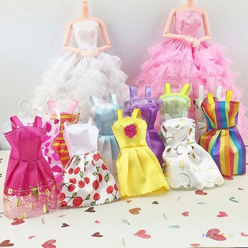Random 10pcs Dresses Clothes For Dolls Figures Toys Girl Ladys Best Gift