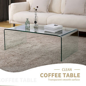 Design Rectangle Transparent Glass Coffee Table Living Room ...