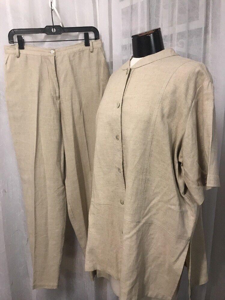 Coldwater Creek Women's Outfit Tan Linen Blend 2pc. Split Size Large & XL
