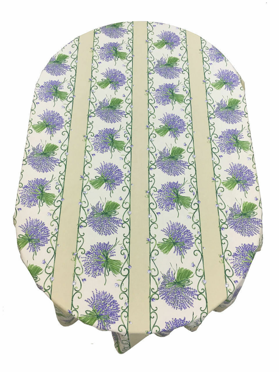 Provencal 100% Coated Cotton Tablecloth Lavender Bouquet Ecru  Made France 61X79