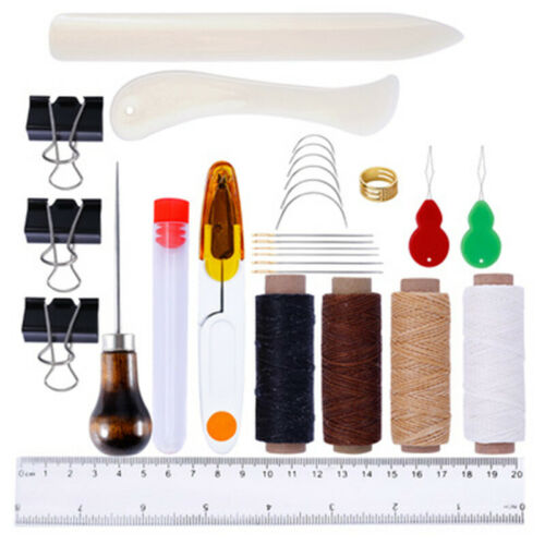 Professional Leather Craft Tool Kits Hand Sewing Stitching Punch Carving Work