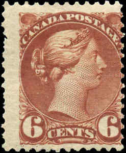 Mint-H-Canada-F-Scott-43-6c1888-1897-Small-Queen-Issue-Stamp