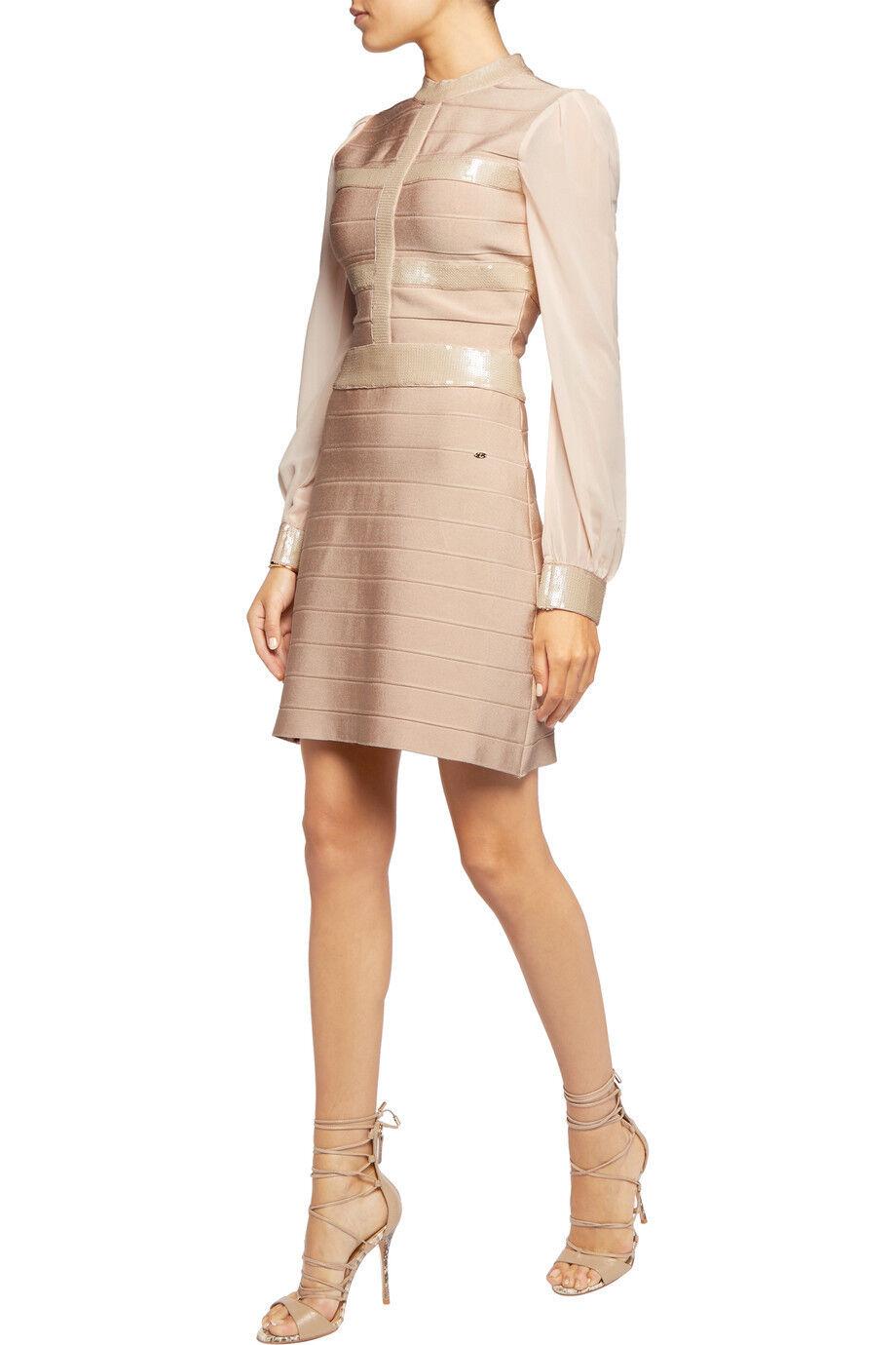 Mini vestido sólo Cavalli  embellecido con lentejuelas con Vendaje nude talla pequeña  barato