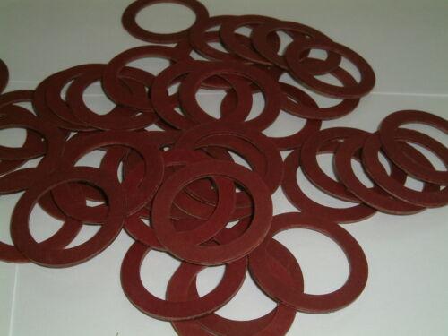 20 Red Fibre Washers 38mm o//d x 26.7mm i//d x 1.5mm thk.
