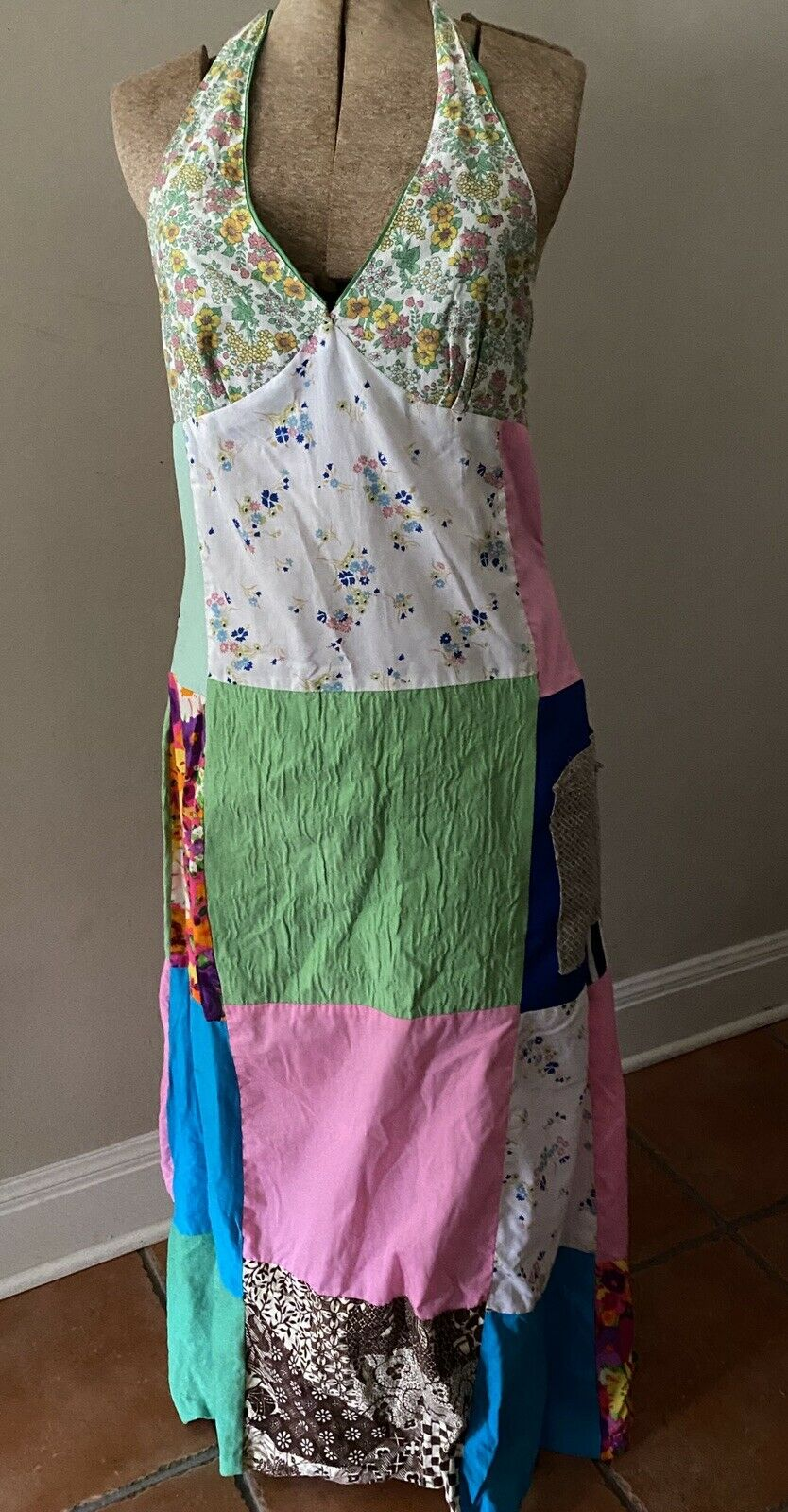 Vintage Handmade 60s Floral Patchwork Quilt Dress… - image 8