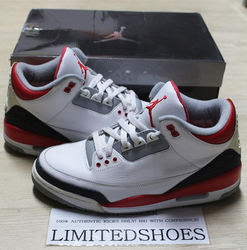 Nike Air Jordan 3 136064-161 III retro rojo fuego 136064-161 3 US 9,5 cemento negro Sport azul barato y hermoso moda b11e59