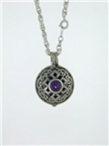 Pewter-Celtic-Knot-amp-Amethyst-Diffuser-Pendant-on-24-034-Chain
