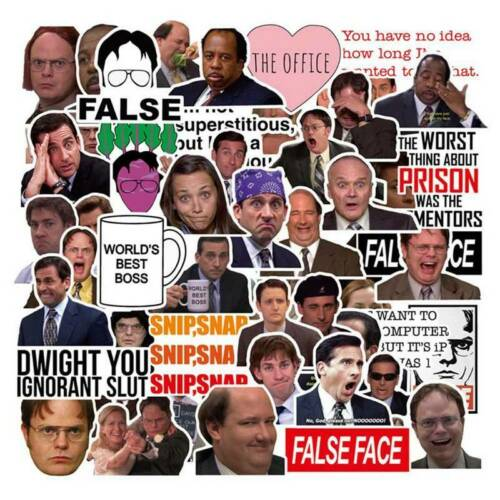 50pc Funny The Office Stickers Laptop Skateboard Fridge Suitcase DIY Decals