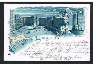 Gruss-aus-LINZ-a-d-Donau-schoene-alte-Mondschein-Farblitho-1899