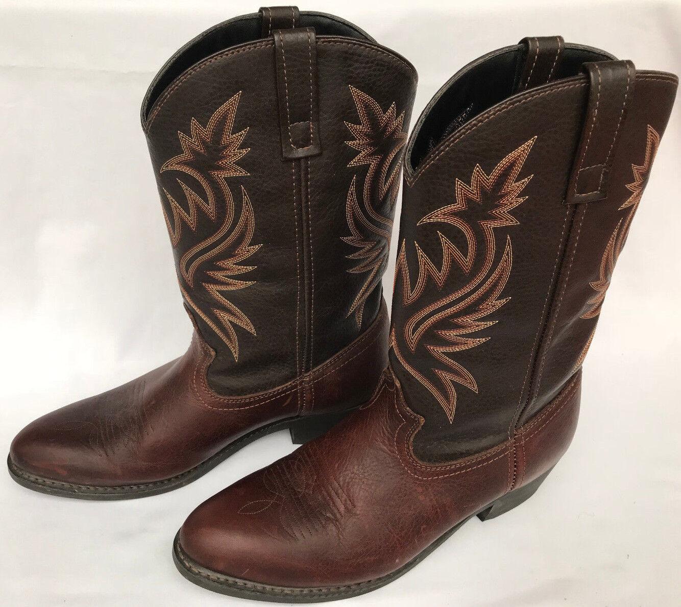 Laredo Paris Western 4243 Copper Brown Leather Rodeo Cowboy Boots Men's 11.5 D