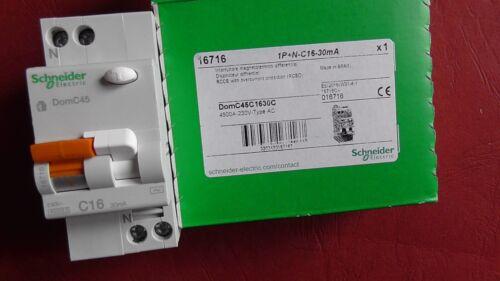 SCHNEIDER DT40 VIGI  C16 16A 30mA-AC 1P+N  DISJONCTEUR DIFFERENTIEL  RCCBO 16716