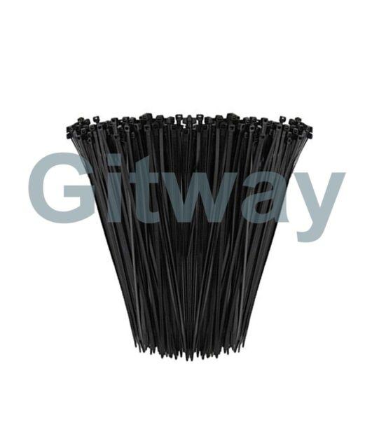 """11 INCH NYLON ZIP CABLE TIES WIRE TIE WRAPS 50 LBS BLACK UV RESISTANT 11/"""" 1000"""
