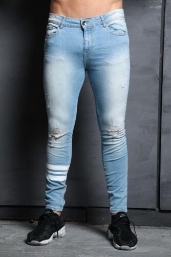 ZE Enzo Mens Super Skinny Stretch Fashion Designer Branded Ripped Denim Jeans