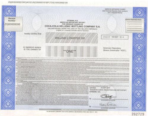 Coca-Cola Hellenic Bottling Company /> Greek stock certificate Greece share