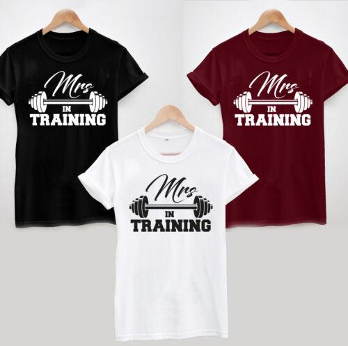 Wedding Dress Bride Workout Gym Slogan Tee Top Weight Mrs in Training T-Shirt