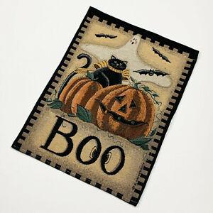 Halloween Greetings Ghost Pumpkin Black Cat Boo Tapestry Bannerette Wall Hanging