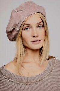 Free People Corduroy Beret Hat lavender mauve Modern Lined Slouchy O//S NEW