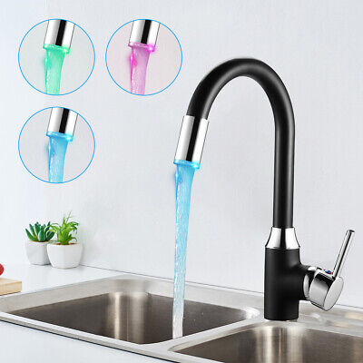 Kitchen Room Sink Water Tap Deck Mounted LED 3Changing Color Finish Faucet Mixer