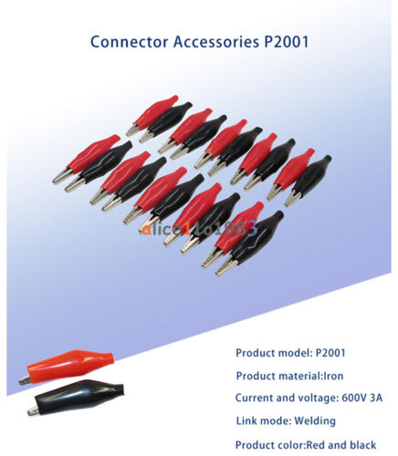 20pcs Black Red Soft Plastic Coated Testing Probe Aligator Clips Crocodile P2001