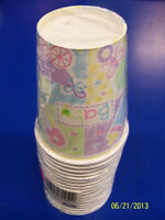 Baby's Nursery Bottle Rattle Pin Carriage Baby Shower Party 9 Oz. Paper Cups