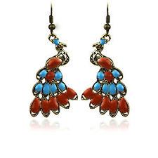 Vintage style enamel bronze peacock bird charm earrings