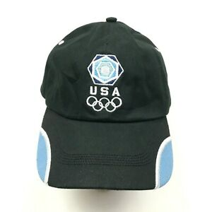 Team USA Olympics Hat Cap Strapback Black Blue White Adjustable Embroidered Mens