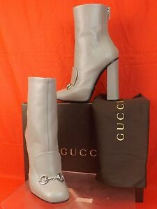 NIB-GUCCI-STORM-GRAY-LEATHER-LILIAN-HORSEBIT-ANKLE-BOOTS-37-5-7-5-1100