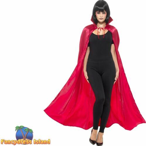 Satin Devil Cape Red Halloween Womens Ladies Adults Fancy Dress Accessory