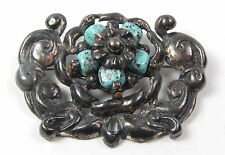 Vintage KARU FIFTH AVENUE Brutalist Silver & Turquoise Glass Bead Pin Brooch Vtg