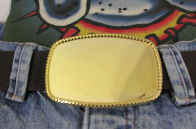 "New Men / Women Belt Fashion Big Gold Metal Plate Classic Buckle Large Size4""/3"""