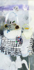 Albert Zavaro (French 1925-) Oil painting still life bowl of fruit on table