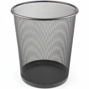 Mesh Waste Paper Bin Metal Wire Rubbish Basket for Office Bedroom Black//Silver