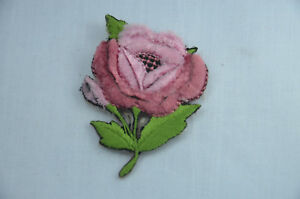 CUTE-PINK-ROSE-FLOWER-3D-PLUSH-6cm-Embroidered-Iron-Sew-On-Cloth-Patch-Applique