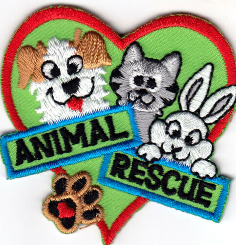"/""ANIMAL RESCUE/"" Dogs Pets Cats Animals Iron On Embroidered Patch"